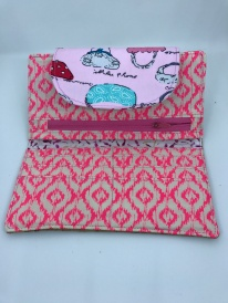 Abstract in hot pink and light pink with quirky flap