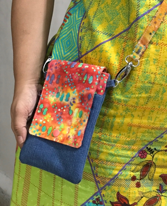 Batik and denim phone pouch with removable strap