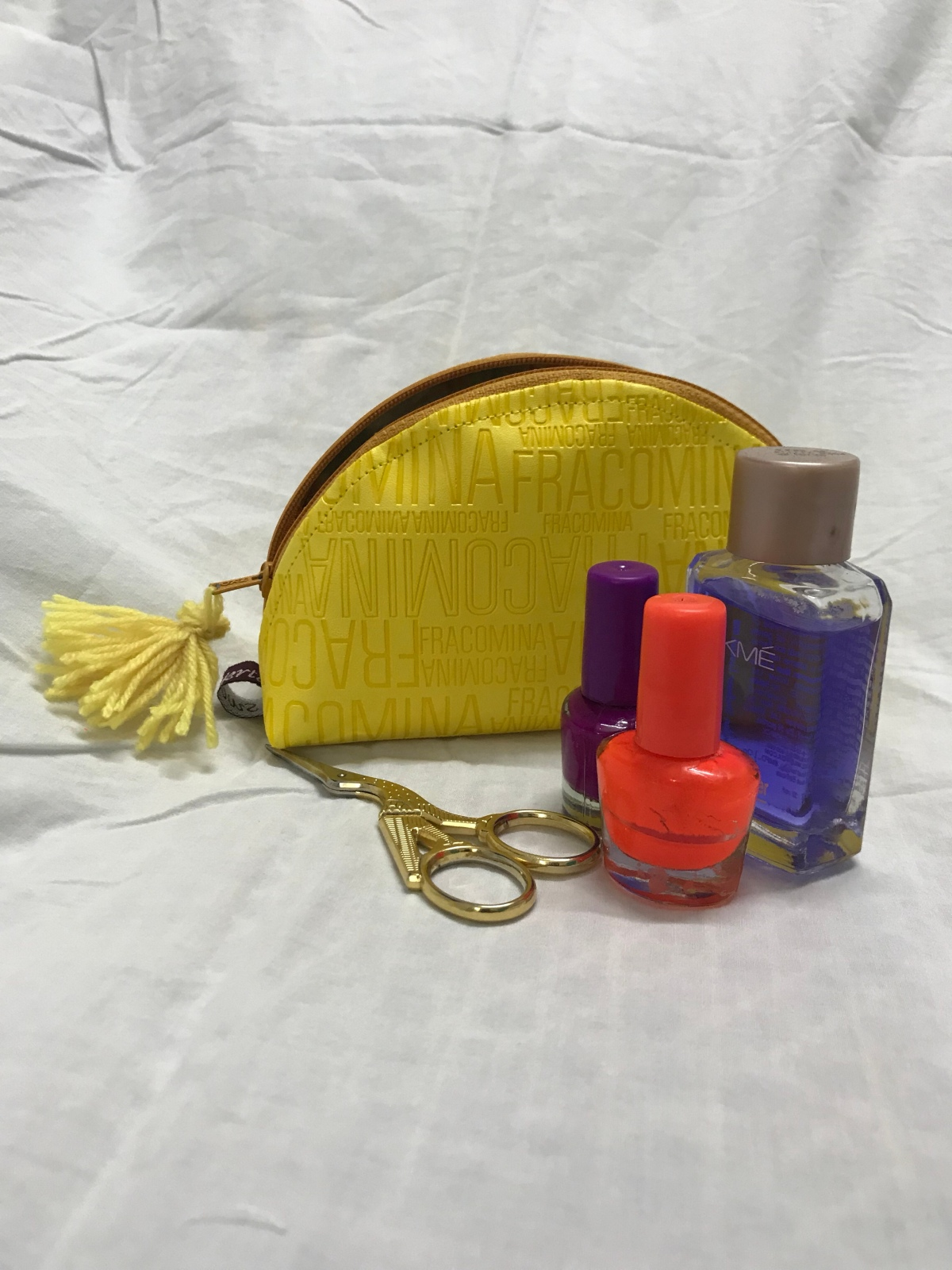 Yellow zipper pouch
