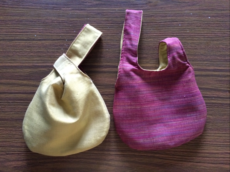 Reversible Japanese knot bags